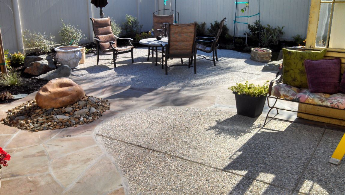 This is a picture of an aggregate concrete patio in Rocklin