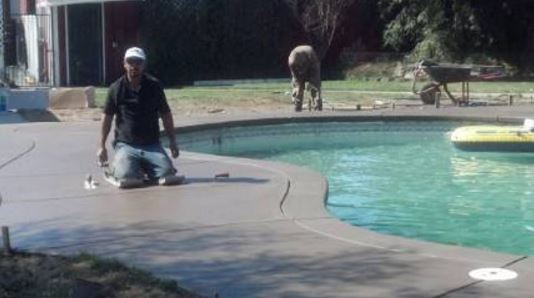 picture of pool deck installation, rebuild, resurface in Granite Bay, CA