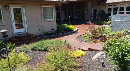 landscaping masonry done in the backyard of Rocklin, California